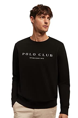 POLO CLUB Sudadera Orgánica Negra de Cuello Redondo