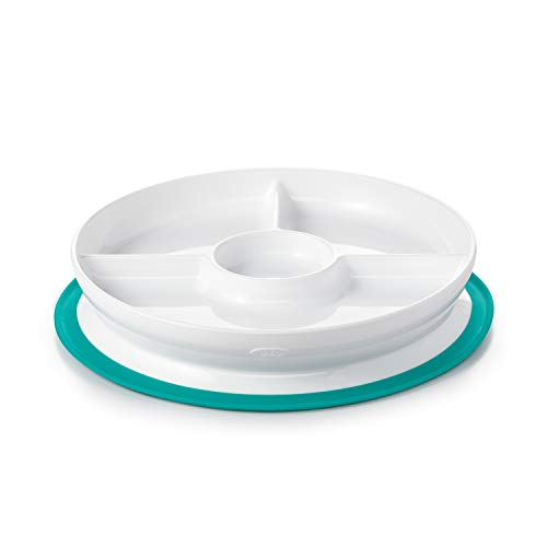 OXO Tot Stick & Stay Suction Divided Plate- Teal