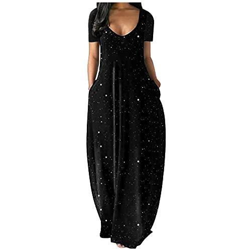 Winkey - Vestido de verano para mujer, diseño de flores, largo y elegante, cuello en V, espalda descubierta, vestido de verano negro S