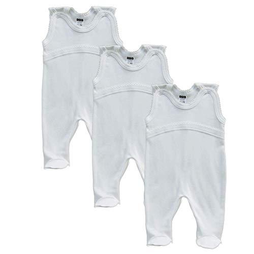 MEA BABY Unisex Baby Strampler aus 100% Bio-Baumwolle im 3er Pack. Baby Strampler Weiß (Creme). Baby Strampler für Mädchen Baby Strampler für Jungen. (74)