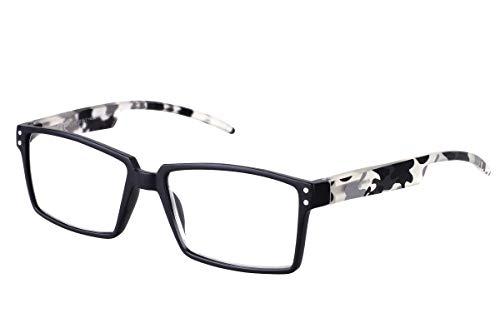 TBOC Gafas de Lectura Presbicia Vista Cansada – Graduadas +2.50 Dioptrías Montura Negra Patillas Camuflaje Negro de Diseño Moda para Hombre Mujer Unisex Lentes de Aumento para Leer Ver de Cerca