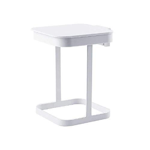 JUIO Papelera de pedal, creativa y moderna soporte de hierro, papelera de limpieza para el hogar, dormitorio, cocina, mesa, dos colores, 13,5 x 11,9 x 16,5 cm (color: blanco)