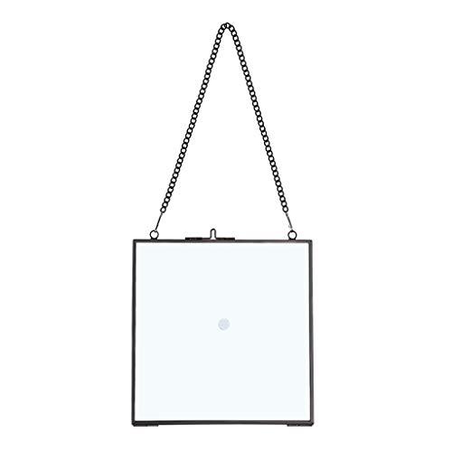 JuxYes Quadratischer Messing-Bilderrahmen zum Aufhängen von Bildern, Kunstwerken, Display-Rahmen, Doppelglas, schwebender Rahmen, für Bilder, Poster, etc. (16 cm x 16 cm, schwarz)