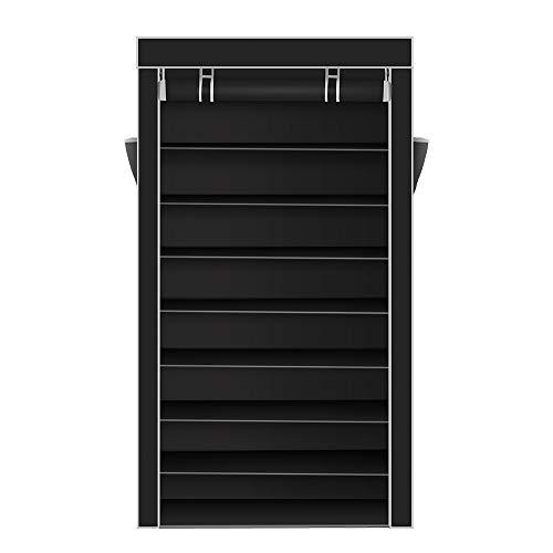 Acedas 10 Tiers Shoe Rack with Dustproof Cover Closet Shoe Storage Cabinet Organizer (Black)