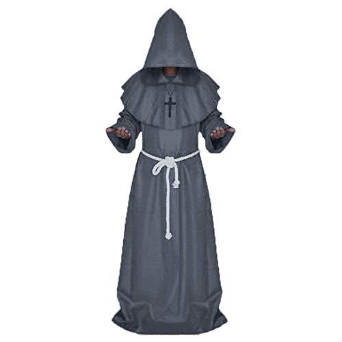 Amhuui Disfraz De Robe Monje, Sacerdote Robe Monk Condadera con Capucha con Capucha Medieval Monk Disfraz De Renaissance, Disfraz Renaissance Sacerdote Robe Halloween Cosplay