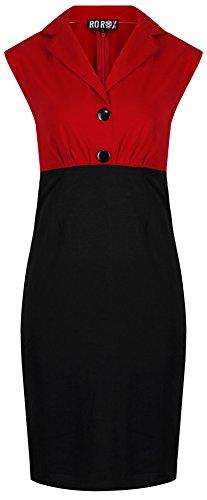 Neue Rockabilly Vintage 50er Jahre Wiggle Kleid (DE 40, Rot)