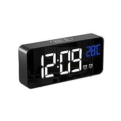 Alomce LED Digital Alarm Clock Battery Operated, Touch Activated Snooze, 4 Adjustable Brightness, Temperature Display, Adjustable Alarm Volume, 12/24H, Alarm Clock for Bedrooms/Bedside/Kids/Travel