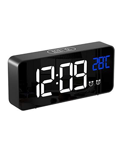 Alomce LED Digital Alarm Clock Battery Operated, Touch Activated Snooze, 4 Adjustable Brightness, Temperature Display, Adjustable Alarm Volume, 12/24H, Alarm Clock for Bedrooms/Bedside/Kids/Travel