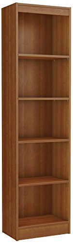 South Shore Axess 5-Shelf Narrow Bookcase-Morgan Cherry