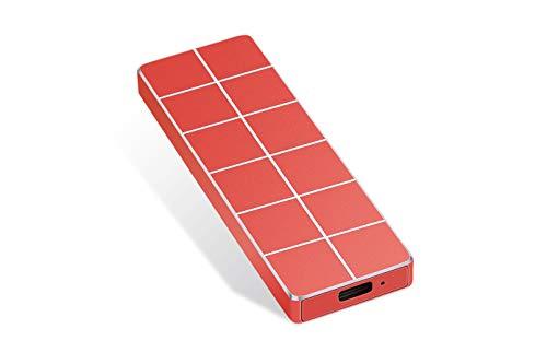 Disco rigido esterno tipo C USB 3.1, da 1 TB, 2 TB, disco rigido esterno portatile, HDD esterno compatibile con Mac, laptop e PC (2 TB-A Rosso)