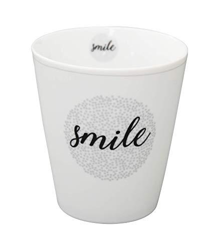 Krasilnikoff - Becher, Tasse - Happy Mugs - Stardust - Smile - ca. 330 ml - Höhe: 10 cm - weiß/grau