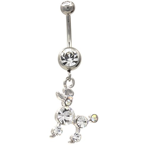 Gem Encrusted Cute Poodle Dog Belly Button Ring Navel Piercing Jewelry - 14 Gauge 3/8""