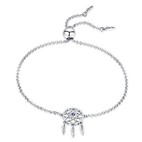 Qings Dreamcatcher Orecchini pendenti, orecchini in argento sterling 925 con cristalli viola regalo per ragazze