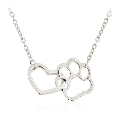 LBBYMX Co.,ltd Collar de Moda Hollow Bound Heart Paw Huella de Perro Garras Collares Pendientes Oro Plata Pet Dog Animal Joyería Regalo para Amantes de los Perros