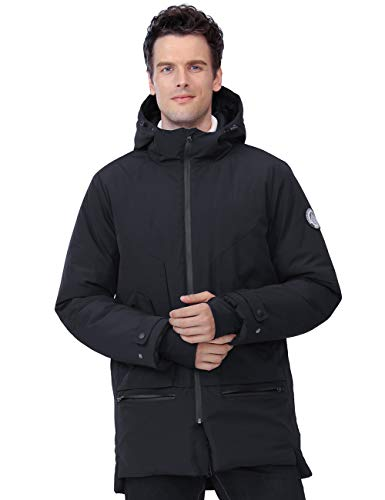 CAMELSPORTS Men's Jackets Winter Parka Windproof Insulated Coats Black Outerwear Warm Casual Hooded Jacket Coats