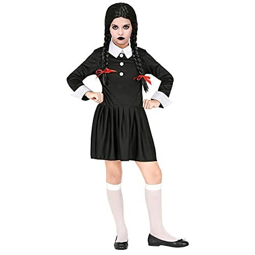 WIDMANN - Disfraz infantil de chica oscura, vestido en blanco y negro, para niñas, psicótico, gótico, terror, terror, disfraz, fiesta temática, carnaval, Halloween.