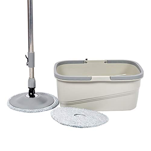 Microfiber Spining Magic Spin Mop W/Bucket 2 Heads Rotating 360° Easy Floor Mop Washable Plastic Handle Great Wet Or Dry Machine Washable With 3 Microfiber Mop Heads