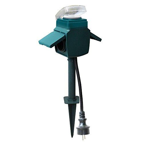 GAO EMP701MT 2-Fach Aussensteckdose mit mechanischer Zeitschaltuhr und Erdspieß