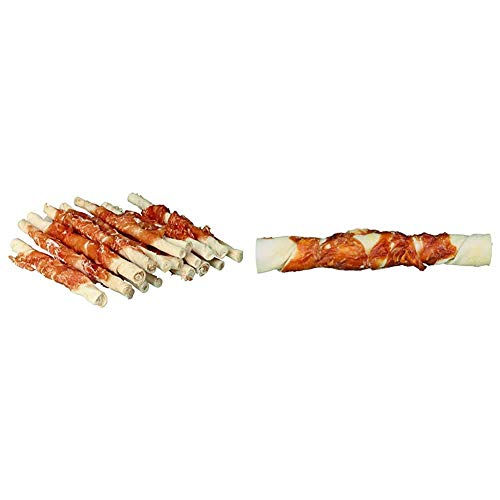 Trixie 31378 Denta Fun Chicken Chewing Rolls, 12 cm, 30 St./240 g & 31327 Denta Fun Chicken Chewing Rolls, 17 cm, 3 St./140 g