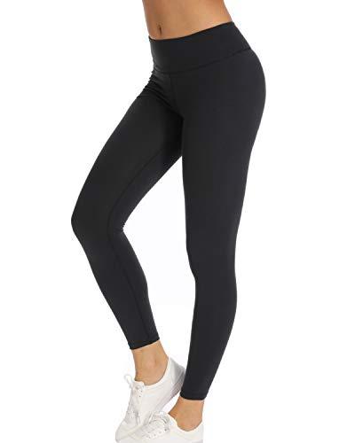 Teniux Laufhose Damen Sport Leggins für damen Ideal für Training, Radfahren, Laufen, Gymnastik, Yoga, etc, Schwarz, L (DE38-40)