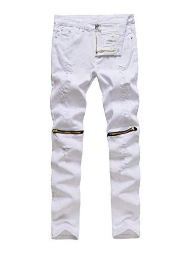 Herren Superenge Jeans Enge Der Jeans Verschluss Knie Am Hose Neu Clubwear Jungen Streetwear Jeanshose Trousers (Color : White2, Size : 28)