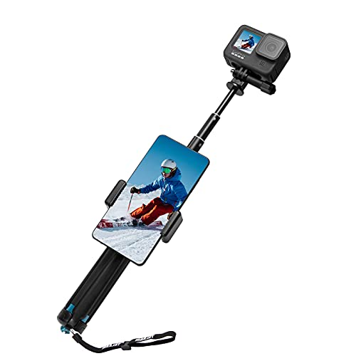 TELESIN 35.5' Selfie Stick Monopod Compatible with GoPro, Selfie Pole with Strong Tripod Mount Adapter and Cellphone & Digital Compacts for Hero 9 8 7 6 5 4 3+, Insta 360 One R, DJI OSMO Action Camera