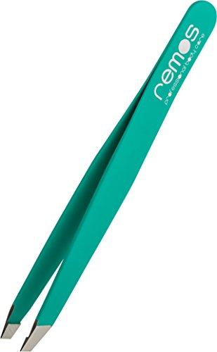 REMOS® Augenbrauenpinzette aus Edelstahl - Grüne Pinzette entfernt feinste und kürzeste Härchen - Geeignet für Augenbraue, Bart und Haare - Hochwertige Qualität