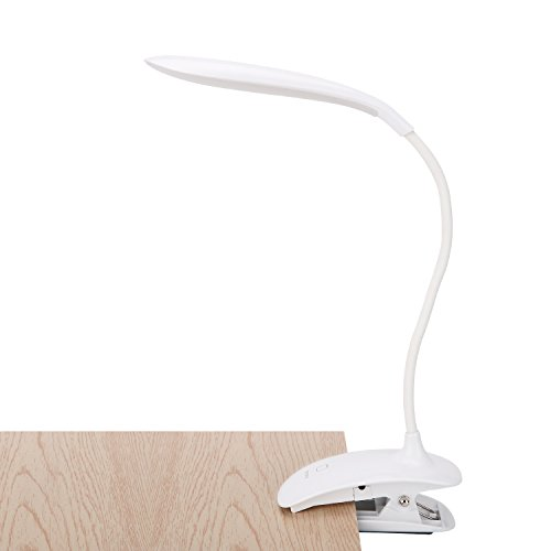 LED Clip on Light, 5500-6000k Adjustable Rechargeable Reading Book lamp for Bookworms & Kids & Students, Reading Light with 3-Level Dimmer/Touch Switch for Desk,Table,Bed,Headboard,Computer