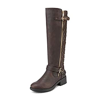 DREAM PAIRS Women s Utah Brown Low Stacked Heel Knee High Riding Boots Wide Calf Size 11 M US