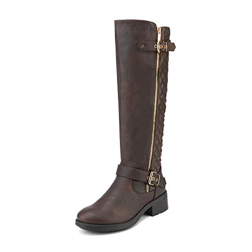 DREAM PAIRS Women's Utah Brown Low Stacked Heel Knee High Riding Boots Wide Calf Size 9 M US
