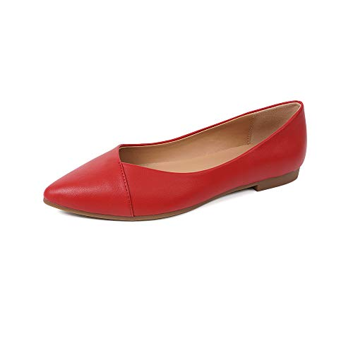 FUNKYMONKEY Women s Ballet Flats Comfort Slip On Shoes for Walking and Driving (10 M US  Red A)