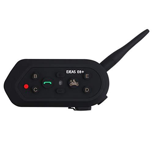 Xyamzhnn 1200m IP65 a Prueba de Agua Jinetes 6 Usuarios de conexión Bluetooth Multi-Interphone Auriculares for Casco de la Motocicleta con la manija/Control Remoto, walkie Talkie (Color : Black)