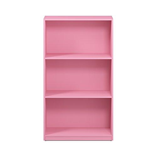 FURINNO Basic 3-Tier Bookcase Storage Shelves, Pink