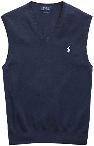 Ralph Lauren Polo Mens Pima Cotton Sweater Vest (Medium, Blue)