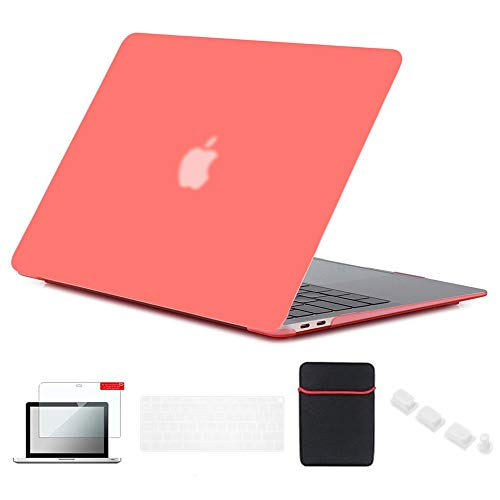 Se7enline New Mac Book Air 13 inch Case 2018/2019/2020 Hard Shell Cover for MacBook Air 13 Inch with Touch ID A1932/A2179 with Sleeve Bag, Keyboard Cover, Screen Protector, Dust Plug, Living Coral