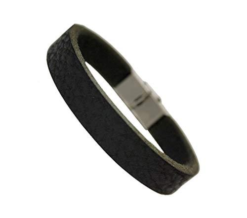 Unbekannt tinasfunshop Herren Büffelleder Armband Edelstahl Verschluss 10 mm breite stylisch schwarz braun Used Look (schwarz)