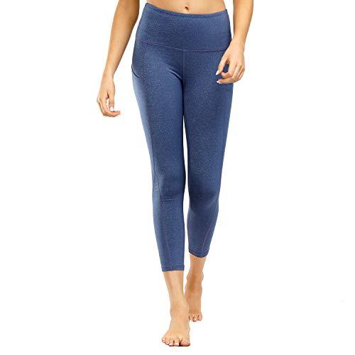 Damen Leggings Yogahosen Sporthose Tights Laufhose High Waist mit Taschen Dehnbar Jogginghose Yoga Sport Fitness Laufen(jcjf.Blau lila,l)