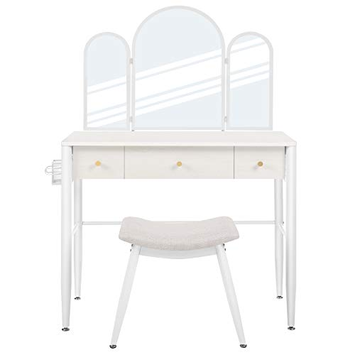 VASAGLE Vanity Table Set, Dressing Table, Makeup Table with Cushioned Stool, Tri-Fold Mirror, 3 Drawers, and Brush Holder, Modern Vanity Desk, White URVT003W01