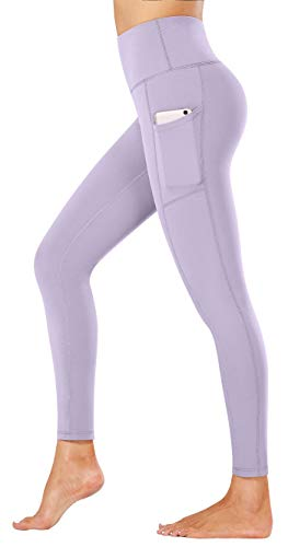 Fengbay High Waist Yoga Pants, Pocket Yoga Pants Tummy Control Workout Running 4 Way Stretch Yoga Leggings Light Purple