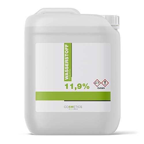 Wasserstoffperoxid 11,9% 5 Liter   Hergestellt in Deutschland   H2O2 Wasserstoffperoxyd 12 Prozent Lösung   Blondierung, Blondiermittel, Bleichmittel