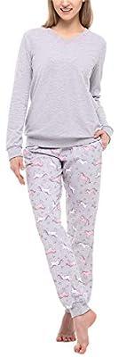 Merry Style Pijama Conjunto Camiseta y Pantalones Ropa de Cama Mujer MS10-230 (Melange/Unicornio, XXL)