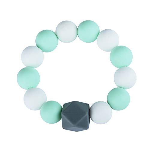 Sensory Teething Bracelet for Baby Boy, Silicone Chewable Beads Ring for Kids Chewing Biting, Soft Wearable Teether Toy for Infant Toddler with Autism ADHD SPD Anxiety (Grey/White/Green)
