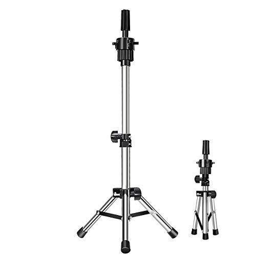 Mini Mannequin Head Stand,Dansee Mini (36-55cm) Tripod Stand Holder Adjustable Mannequin Head Stand for Cosmetology Training & Hair Salon (Silver )