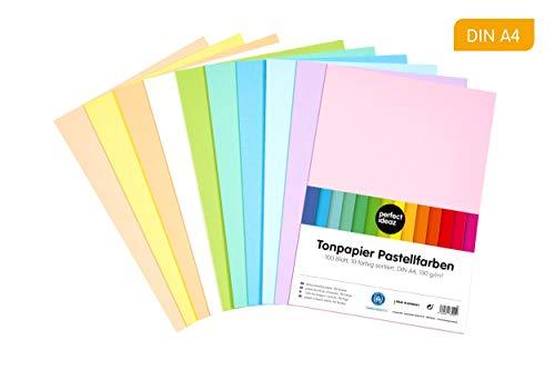 perfect ideaz 100 hojas papel tintado pastel DIN-A4, 10 colores diferentes, grosor de 130g/m², Papel para manualidades de la mayor calidad