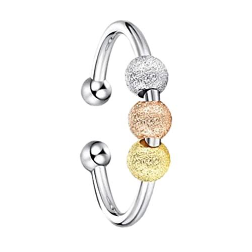 Simple Style Spinner perlas Open Ring Cool Lightweight Banda Rotierende Ronda Perla Boda Compromiso Anillo Set Accesorios Diario Ropa