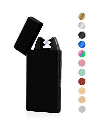 TESLA Lighter TESLA Lighter T05 Lichtbogen Feuerzeug, Plasma Double-Arc, elektronisch wiederaufladbar, aufladbar mit Strom per USB, ohne Gas und Benzin, mit Ladekabel, in edler Geschenkverpackung, Schwarz Schwarz