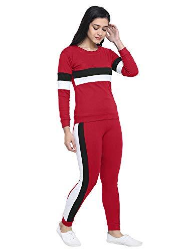 Shocknshop Black Striped Side Tracksuit Tape Tee & Leggings Pants Set for Womens (LEG62) (30 Waist, Red)