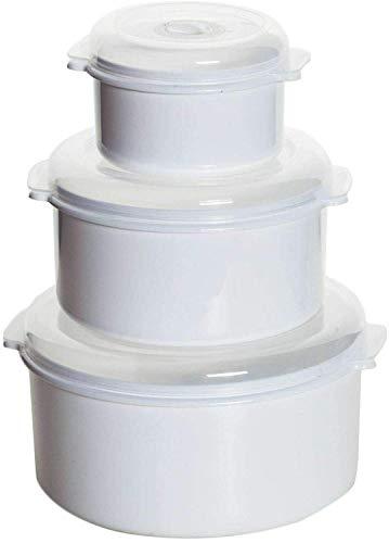3er Set Mikrowellen Töpfe Vorrats Dose Aufbewahrung Geschirr zum erhitzen einfrieren Deckel mit Belüftung und Zeitanzeiger BPA frei sehr stabil und bruchsicher (3er Set Töpfe)