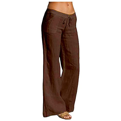 BZSHBS Cotton Linen Elastic Waist Pants for Women Beach High Waist Drawstring Loose Fit Casual Trousers with Pockets Coffee Medium