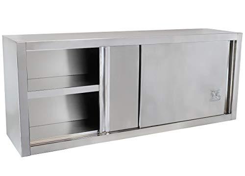 Beeketal 'BWS160' Gastro Küchen Wandhängeschrank aus Edelstahl mit auf Rollen gelagerte Schiebetüren, Hängeschrank mit fest verbautem Einlegeboden - Außenabmessungen (L/B/H): ca. 1600 x 400 x 645 mm